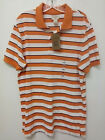 Men's Dockers Short Sleeve Orange White Stripe Polo Golf Shirt 100% Cotton $45