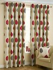 Ring/Eyelet Top Fully Lined Curtains In A Modern Leaf Design In Modern Red