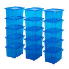 15 Pack Storage Boxes With Lids TML Blue Or Clear Boxes With Black Lids Home Box