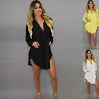 Women's Summer Casual Long Sleeve V-Neck Plus size T Shirt Top Blouse Dress New