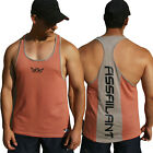 Assailant- Resistance Tank - Orange Stripe, Mens Gym Singlets, Racerback, T Back