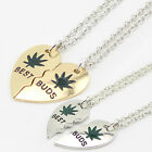 Weed Leaf Loving Heart Pendant Chain Unisex Exaggerated Choker Necklace Glitzy