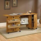 sauder sewing tables - NEW Sauder Sewing Machine & Craft Table Drop Leaf Shelves Storage Bins Cabinets
