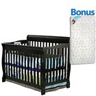 baby in crib - New 5 in 1 Convertible Baby Crib W/ Mattress Toddler Nursery Bed Changer Side