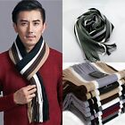 Men's Classic Cashmere Shawl Winter Warm Men's Fringe Striped Tassel Long Scarf