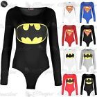 Donna Batman Body Donna Superman Body Manica Lunga Girocollo Aderente