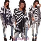 poncho woman hood fringes striped shrug sweater pull poncho new 329-MOD