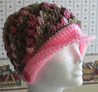 Crochet PEAKED HATS/CAPS Color Pink/Camo/Camouflage Handmade NEW FREE SHIP