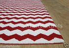 Chevron Style Zig Zag Red White Hand Tufted 100% Wool Area Rug Carpet RUGS EDH