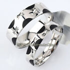 A1-R240 Fashion 5.8mm/4.2mm Couple Band Ring 18K White Gold Plated Size 6-9