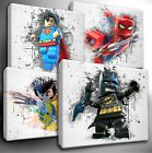 Choose your LEGO Marvel / DC Characters paint splatter CANVAS Wall Art Picture