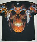 MYSTICAL SHAMAN SKULL-2 SIDED BLACK T SHIRT PLUS SIZE  3XL