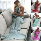 Adult Mermaid Tail Handmade Crocheted Cocoon Sofa Blankets Beach Quilt Rug Knit