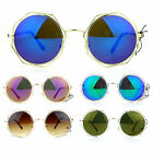 SA106 Octagonal Double Rim Circle Lens Womens Sunglasses Silver Blue