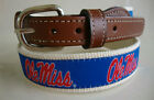 Ole Miss University Miss Mens Embroidered Leather Canvas Collegiate Belt >> NWT