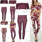 Womens Ladies Floral Off Shoulder Co Ord Trouser Stripes Frill Sleeve Crop Top