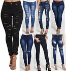 WOMENS LADIES GIRLS HIGH WAISTED EXTREME RIPPED SKINNY JEANS SIZE 6 TO 14