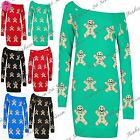 Womens Christmas Gingerbread Ladies Off Shoulder Xmas Knit Bardot Jumper Dress