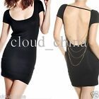 Open Back Short Sleeve Women's Hip-wrapped Mini Cocktail Party Dress Clubwear