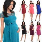 Purpless Short Sleeved Maternity And Pregnancy Dress With Polka Dot Lace D004