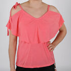 Evaw Wave Caleigh 70's Volant Top Coral Damen Shirt Rosa