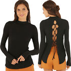 Womens Fashion Sexy Long Sleeve Striped Backless Bandage Tops Blouses Shirt New