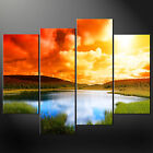 SUNSET LAKE CASCADE CANVAS PRINT MODERN DESIGN READY TO HANG