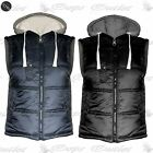 Mens Sleeveless Zip Up Padded Hooded Lined Quilted Coat Jacket Bodywarmers Gilet