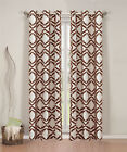 Pair of Allie Faux Linen with Flocking Window Panels w/Grommets Taupe/Chocolate