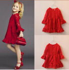2016 NEW Kid Girls Red Lace Dresses Long Sleeve Wedding Birthday Party Size 3-8Y