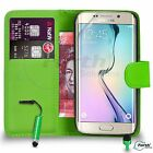 FOR Samsung Galaxy S6 Edge - Wallet Flip Case Cover Mini Stylus SP GREEN DS