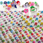 10/100pcs Wholesale Lots Mixed Polymer Clay Children Kids Boys Finger Rings CHIC