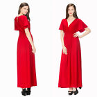 (042)PLUS SIZE RED LONG MIX BEACH EVENING PROM PEACOCK  DRESS SIZE:M-6XL