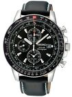 Seiko Flightmaster Solar Chronograph 100m Leather Pilots Mens Watch SSC009P3