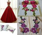 2pcs Embroidered Rose Red/Purple Floral Sewing Appliques Diy Lady Trim WT13