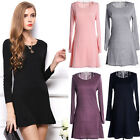 Women Girls Cotton Casual Long Sleeve Shirt Dress Evening Party Short Mini Dress