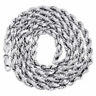 10K White Gold Diamond Cut Hollow Rope Chain 5mm Wide Necklace 18 - 28 Inch
