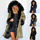 Luxury Women Faux Fur Coat Casual Hood Parka Ladies Long Trench Jacket K0E1
