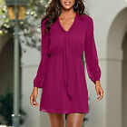 Fashion Womens V-Neck Long Sleeve Cocktail Casual Party Chiffon Mini Shirt Dress