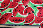 Retro Vintage rockabilly WATERMELONS 100% cotton fabric material RED & Green