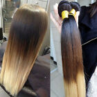 4 bundles Brazilian Virgin Ombre Straight Human Hair Extensions 3Tone 200g UK