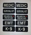 """2 Glow In Dark Small Sew-On Embroidered Patches-EMT K-9 SEARCH MEDIC 1 1/4 x 3"""""""