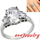 Stainless Steel Cut Oval CZ Crystal Gems Promise Ring + Box Anniversary Gift