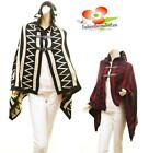 Wool Belted Open Front Tribal Aztec Hooded Oversize Poncho Cape Sweater Coat NEW