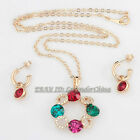 B1-S3032 Fashion CZ Lucky Wreath Earring Necklace Jewelry Set 18KGP Crystal