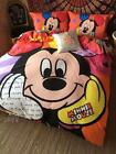 New 2016 Mickey Mouse Bedding Set 4pc Queen King Pink Cotton Gift RARE