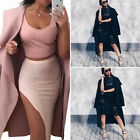 Fashion Womens Winter Lapel Parka Windbreaker Long Trench Jacket Coat Outwear