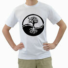 New Yin Yang Tree of Life Symbol for Men's White T-Shirt FREE SHIPPING