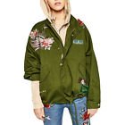 women army green floral embroidery jacket  loose  flight   casual  punk outwear