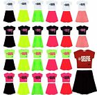 Girls #Selfie Crop Top & Skirt Set Kids Fashion 2 Piece Outfit New 7-13 Years